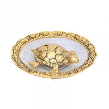 Kamakshi Art Metal & glass Made Fengsui Tortoise Plate Set
