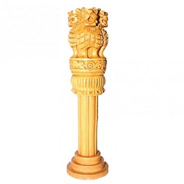 kamakshi art wooden curving ashok pillar for table décor