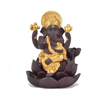 Kamakshi Art Polyresin Golden Crown Lotus Genesha Smoke Fountain Burner with 10 smoke cones