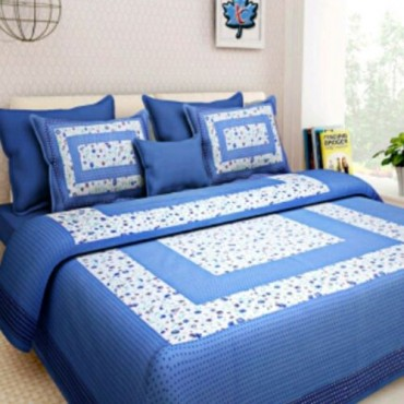 The Shopping Factory 100% Cotton Rajasthani Print 200 TC Double Bedsheet with 2 Pillow Covers, 90 x108 Inches, King Size