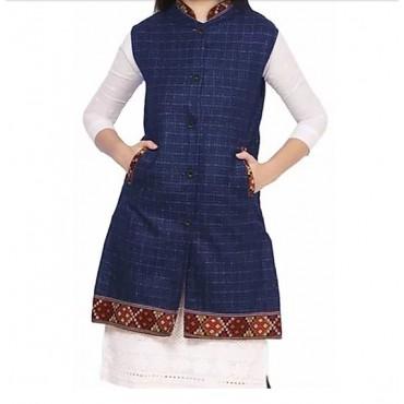 ARUNA KULLU HANDLOOM Woolen Winter Wear Long Jacket for Women Check BLUE