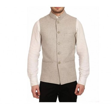 ARUNA KULLU HANDLOOM Men's Woolen Tweed Bandhgala Nehru Jacket
