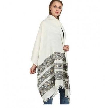 ARUNA Pearl-White Shawl from Kullu with Kinnauri Woven Triple – Off-White