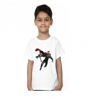 Boys & Girls Printed Poly Satin T Shirt  (White, Pack of 1)