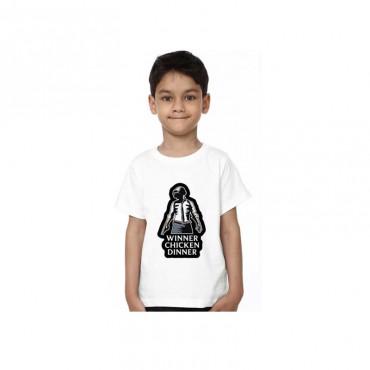 Boys & Girls Printed Polycotton T Shirt (White, Pack of 1)