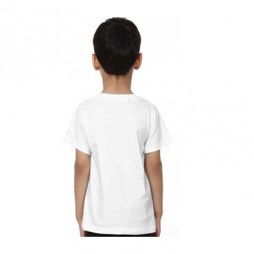 Boys & Girls Printed Poly Silk T Shirt  (White, Pack of 1)
