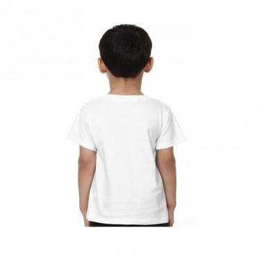Boys & Girls Printed Cotton Blend T Shirt  (White, Pack of 1)