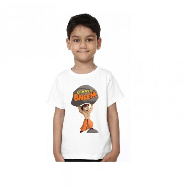 Boys Printed Poly Silk T Shirt  (White, Pack of 1)