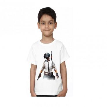 Boys Printed Poly Silk T Shirt  (White )
