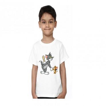 Boys Printed Poly Silk T Shirt (White)