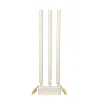 Arnav Unisex Wooden Stumps Set, (white) - Pack of 3 Stumps, 2 Bails, and 1base