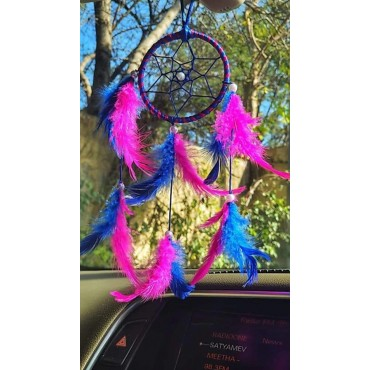 BHAGYSHREE Art Natural Feathers Dream Catcher for Car & Wall Hanging Attract Positive Dreams Showpiece Wind Chems Model-101