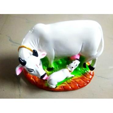 kamakshi art table décor dust marble Kamdhenu Cow set