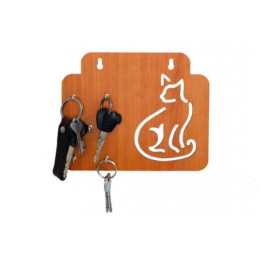 Wooden Cat Shaped Key Holder Stand with 5 Hooks Screw for Home Office Wall Decorative (White)