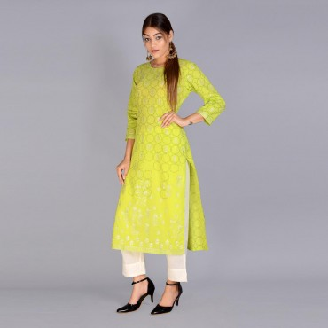 Round neck kurti with pant set for women(color green)