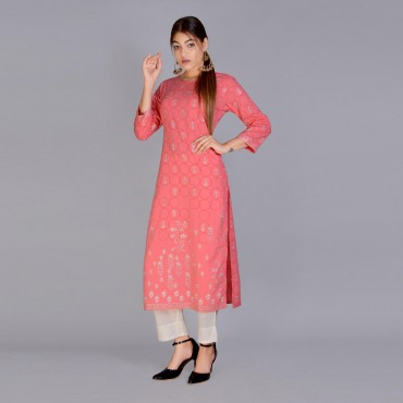 Round neck kurti with pant set for women(color pink)