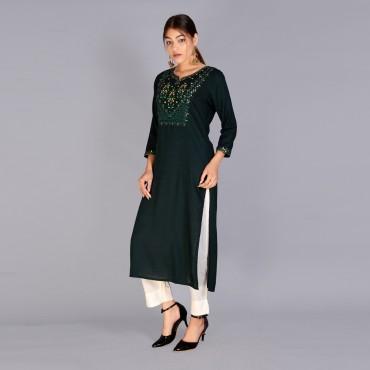 Round neck rayon fabric kurta for womens(Color :Rama green)