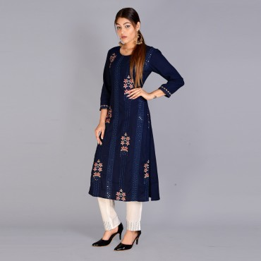 Round neck kurti with pant set for women(colour: navy blue)