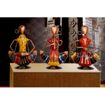 BGSA Decor Iron Antique Decorative Showpiece for Home & Office (Set of 3) (New)