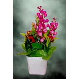BGSA Artificial Decorative Flower Pot of Cherry (Pink)