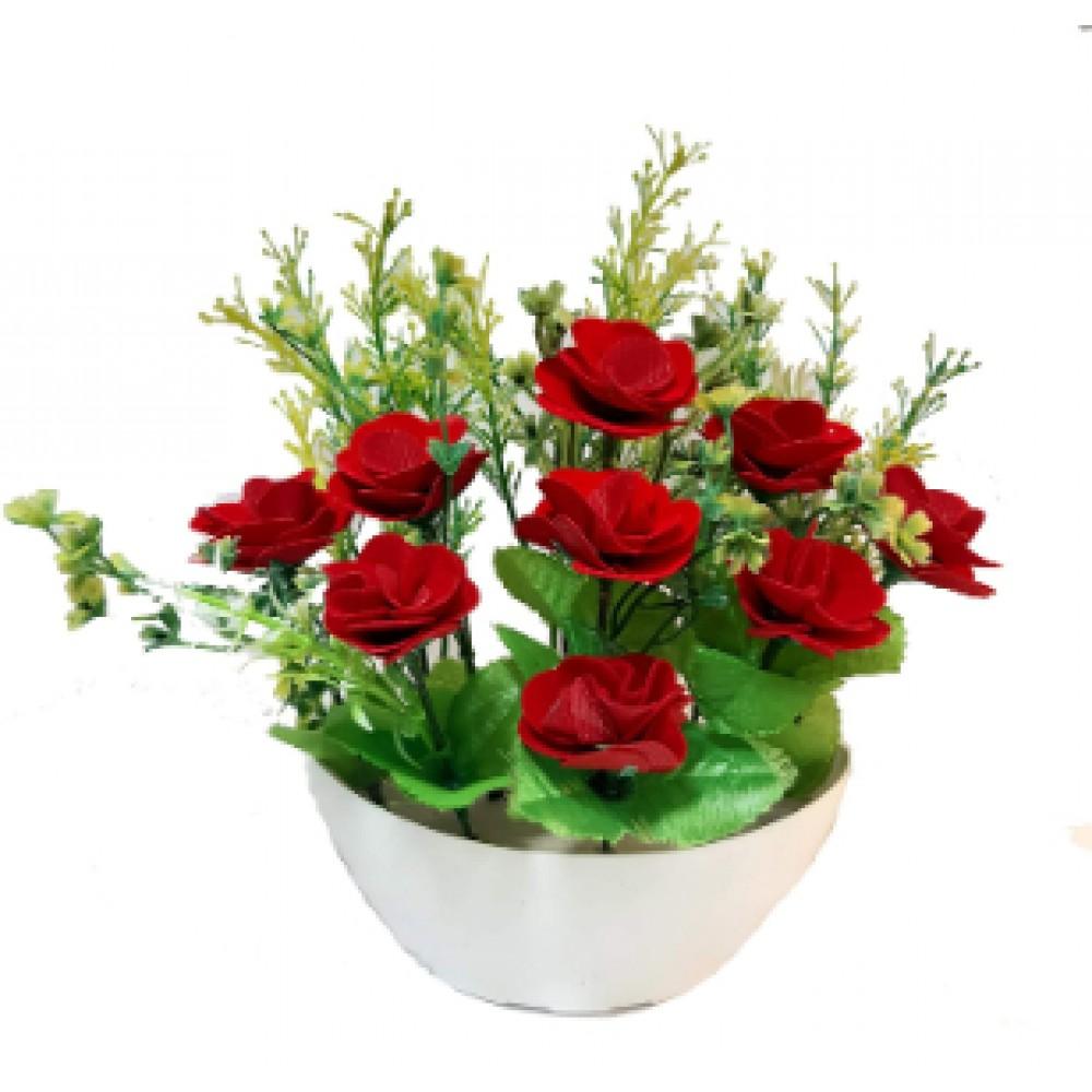 BGSA Blossom Artificial Pot Home Decorative Flower Pot (Wooden) 25X18X10 cm