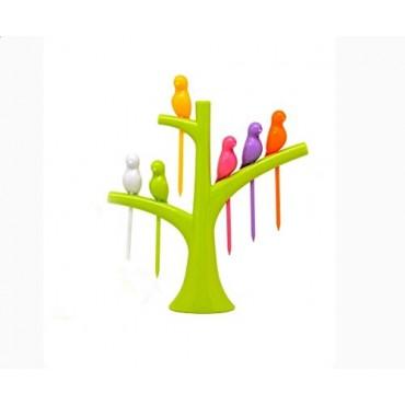 BHAGYASHREES Art Foods Bird Plastic Fruit Fork/CHIDIYA with Stand,6 Pieces