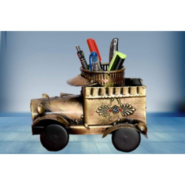 BGSA Decorative Jeep SHOWPIECE& Decorative Pen Stand Cum Flower Pot,Best for Home Decor and Office Tables