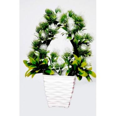 BGSA Blossom Artificial Pot Home Decorative Flower Pot (Plastic) 7X10X3.5 in (White) (Designer)