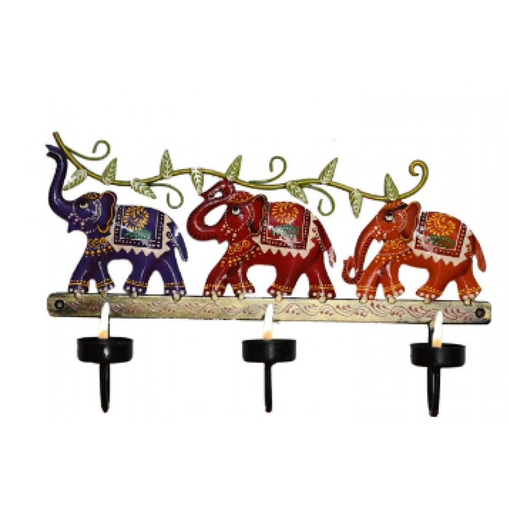 BGSA Antique Decorative Elephant SHOWPIECE Candle Stand,Best for Home Decor and Office Tables