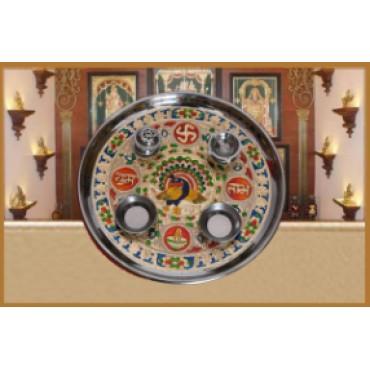 BGSA Stainless Steel Pooja Thali Set (11 inch, Multicolour)