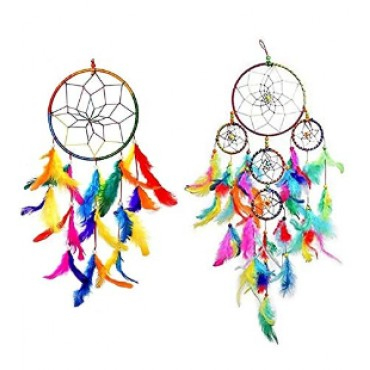 BHAGYSHREE Art Natural Feathers Dream Catcher for Car & Wall Hanging Attract Positive Dreams Showpiece Wind Chems Model-107