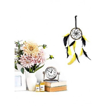 BHAGYSHREE Art Natural Feathers Dream Catcher for Car & Wall Hanging Attract Positive Dreams Showpiece Wind Chems Model-102