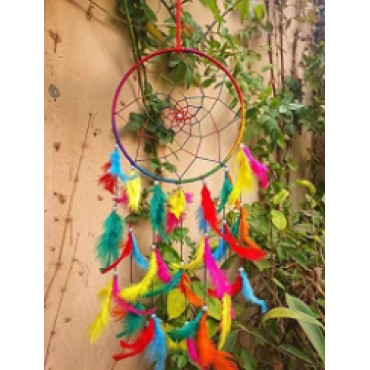 BHAGYSHREE Art Natural Feathers Dream Catcher for Car & Wall Hanging Attract Positive Dreams Showpiece Wind Chems Model-106