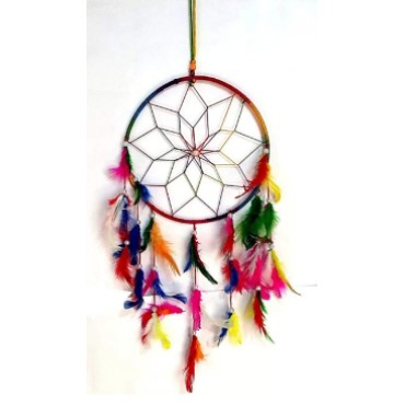 BHAGYSHREE Art Natural Feathers Dream Catcher for Car & Wall Hanging Attract Positive Dreams Showpiece Wind Chems Model-104