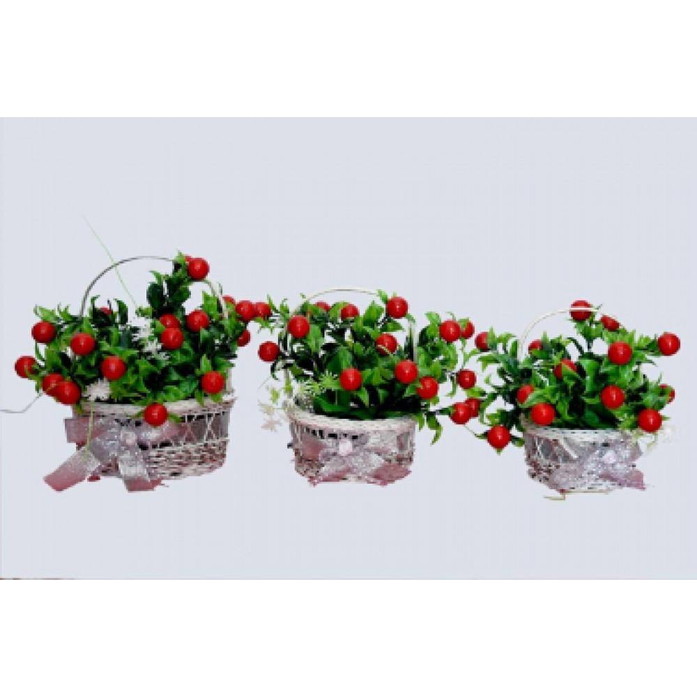 BGSA Blossom Artificial Pot Home Decorative 3 Flower Pot (Plastic) Length X Width X Height 16X16X18 cm, 13X13X17 cm, 12X12X15 cm.cm (Multi) (Designer)