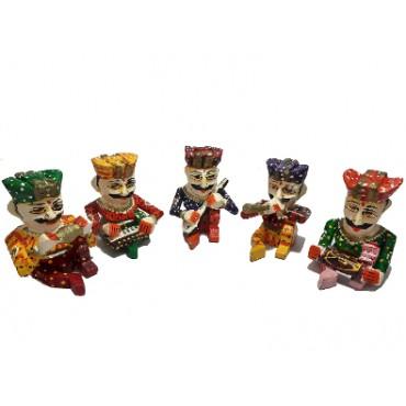 BGSA Decor Polyresin Rajasthani Men Rajasthani Men Playing Dholak Polyresine Idol (5 Idols)