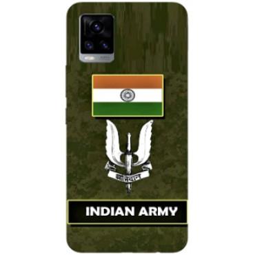 BMB Shoppe Army Sign Flag Printed Soft Designer Mobile Back Cover for Vivo V20