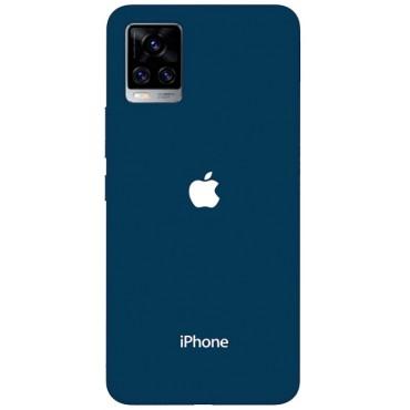 BMB Shoppe Apple Blue Logo Printed Soft Designer Mobile Back Cover for Vivo V20 Pro