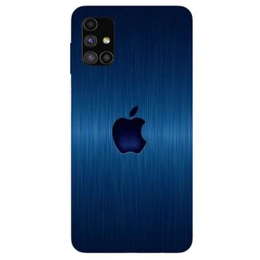 BMB Shoppe Apple Logo Blue Printed Soft Designer Mobile Back Cover for Samsung Galaxy M51