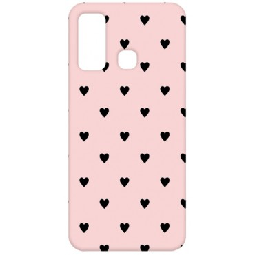 BMB Shoppe Black Small Heart Pink Printed Soft Designer Mobile Back Cover for Infinix Hot 9 | Infinix Hot 9 Pro