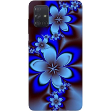 BMB Shoppe Blue White Flower Printed Soft Designer Mobile Back Cover for Samsung A71