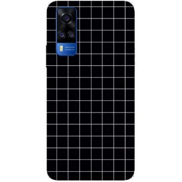 BMB Shoppe Box Pattern Black & White Printed Soft Designer Mobile Back Cover for Vivo Y51 2020
