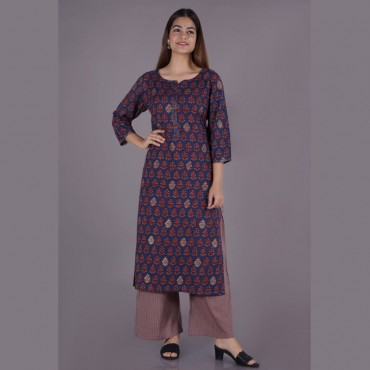 Pure cotton kurti with pant in multi colour