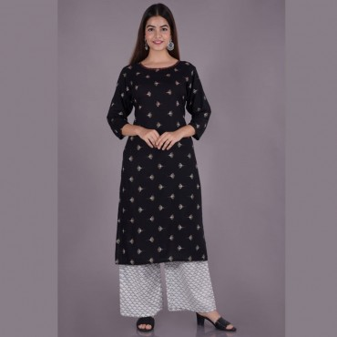 Round neck kurti with pant set for women(colour: navy black)