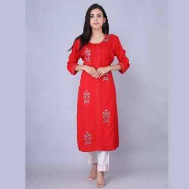 Round neck kurti with pant set for women