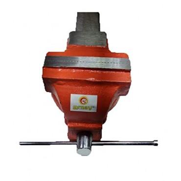 Arnav 3 No. Cast Iron Bench Vice Fixed Base 100 mm Single Rib