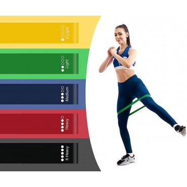 Arnav 5pcs Exercise Resistance Loop Bands for Strength Training and Physical Therapy - Fitness Mini Loops for Booty/ Hips and Legs