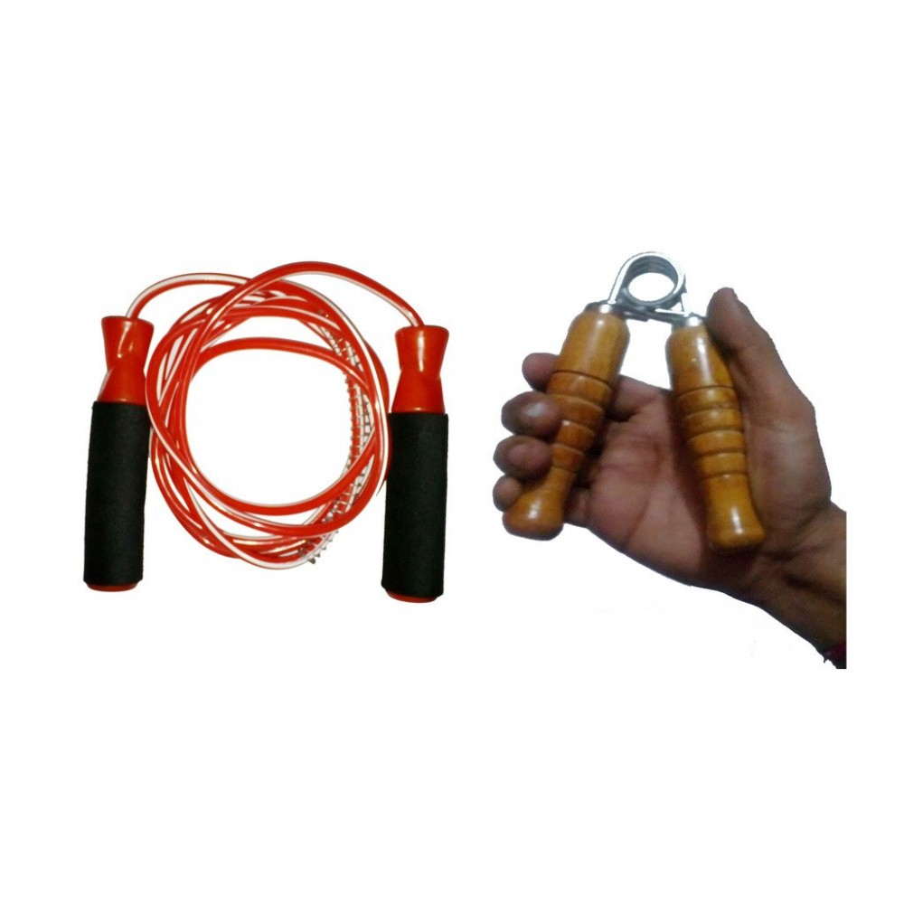Arnav Adjustable Skipping Rope with Comfortable Grip and Wooden Hand Grip Combo