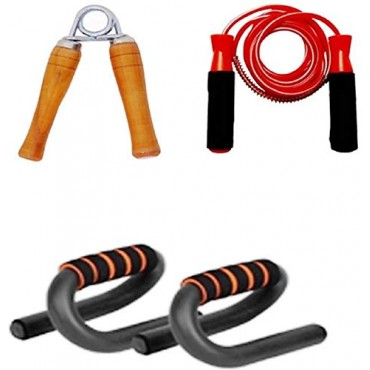 arnav Gym Combo s Type Push up Hand Grip and Skipping Rope for Fitness and Gym Exercise