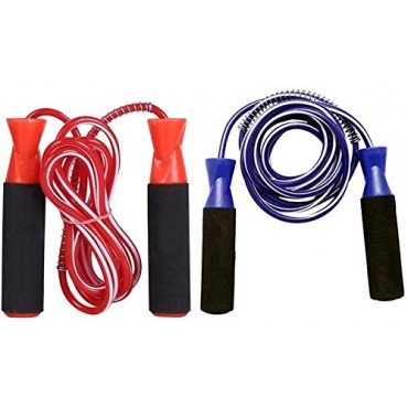 Arnav Home Gym Fitness Combo of Blue and Red Ball Bearing Ball Bearing Skipping Rope (Multicolor/ Length: 259 cm)